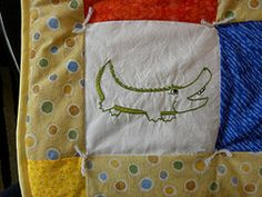 Alligator - Quilt square close-up - Hand embroidered #embroidery #quilt