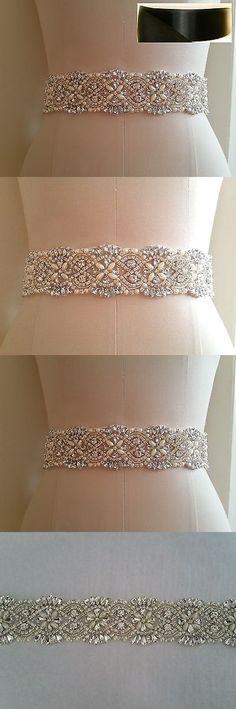 Other Bridal Accessories 106128: Wedding Bridal Sash Belt, Crystal Pearl Wedding Sash Belt = Black Satin Sash -> BUY IT NOW ONLY: $30.72 on eBay!