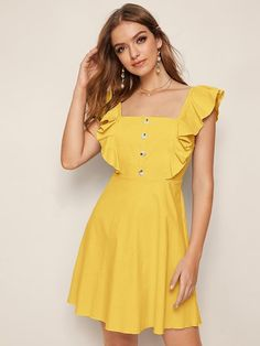 To find out about the Button Front Ruffle Trim Zip Back Dress at SHEIN, part of our latest Dresses ready to shop online today! Cute Dresses, Short Dresses, Summer Dresses, Yellow Fashion, Pop Fashion, Frock For Teens, Dress Outfits, Fashion Dresses, Short Frocks