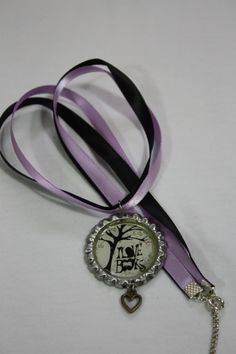 "18"" Ribbon necklace, bottlecap charm"