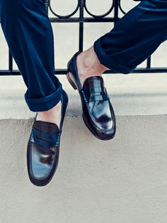 Contrast Leather Penny Loafers