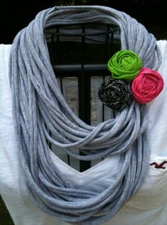 Upcycled GREY t-shirt infinity scarf with a black, green, & pink rolled rosette pin. $25.00