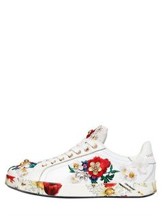 DOLCE & GABBANA - 20MM FLORAL EMBELLISHED LEATHER SNEAKERS - LUISAVIAROMA - LUXURY SHOPPING WORLDWIDE SHIPPING - FLORENCE