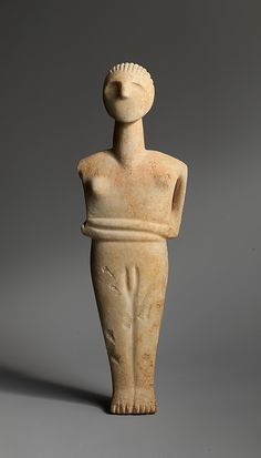 Marble male figure    Period:      Early Cycladic II  Date:      2400–2300 B.C. or later  Culture:      Cycladic