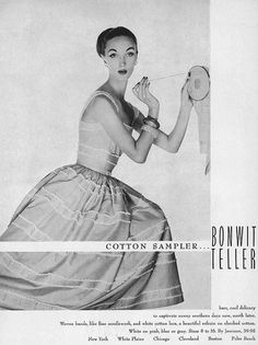 A beautiful full skirted dress, great bangles, and embroidery, model Evelyn Tripp is a gal after my own hear here! #vintage #fashion #1950s #ad