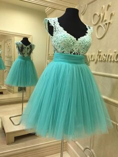 Tulle Prom Dress,Lace Prom Gown,Elegant Homecoming Dress, Short