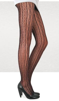 Lace Fantasy Pantyhose Tights. Vertical Grid. by ChicAudrey
