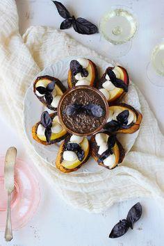 Purple Opal Basil and Sheep Gouda Pesto +  Purple Basil Crostini with Fresh Mozzarella and Fuji Apple - Vegetarian - CaliZona