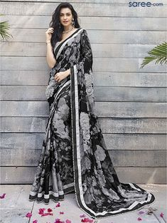 black-georgette-printed-saree