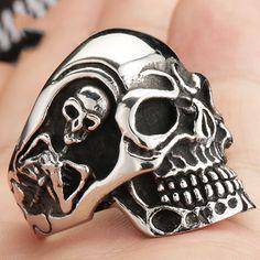 Fashion Ring Stainless Steel Rings For Man Big Tripple Skull Ring Punk Biker…