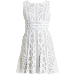 BCBGMAXAZRIA Kelley Sleeveless Lace-Blocked Dress (345 BRL) ❤ liked on Polyvore featuring dresses, vestidos, short dresses, white, short lace dress, sleeveless lace dress, white a line dress and short lace cocktail dress