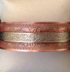 7.5 inch Copper ans silver cuff bracelet