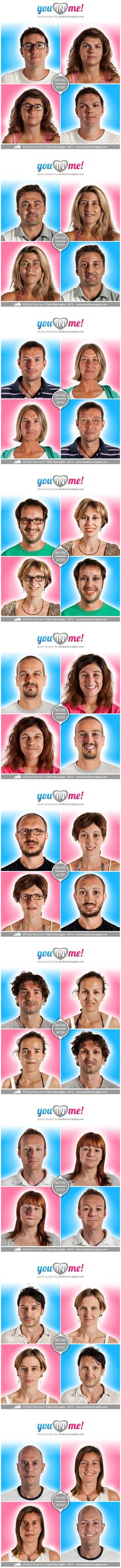 "The photographic project ""You in Me!"" is born to be ironical about one of the most typical and frequent feature of loving couples: they lose themselves in one another.  60 people (30 loving couples) accepted to participate in this project/experiment in order to see and recognize their faces in a totally new vision, which is at the same time madly familiar.  Enjoy it and have a good time!  Project author Fabio Roncaglia All Right Reserved © Fabio Roncaglia - www.studioroncaglia.com"