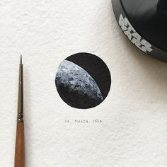 Day 27/120 (7/30 #tiny_cosmodays series). The dark side of the Moon 🌑 Diam 24 mm. -- #moon #cosmos #galaxy #space #nasa #satellite #starwars #blvart #artfido #tinyart #miniature #watercolor #global_artworks #arts_help #arts_gallery #waterblog #painting #artmaster #supportartists #art_worldly #sharingart #miniart #miniatures #miniatureart #tiny_worlds_living #artsfeatures #artscrowds #artistic_unity_ #top_watercolor
