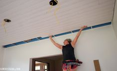 Installing WoodHaven Planks and Hiding Ugly Drop Ceiling Grid! - Sawdust Girl® - Installing WoodHaven Planks and Hiding Ugly Drop Ceiling Grid! Drop Ceiling Basement, Drop Ceiling Grid, Drop Ceiling Tiles, Plank Ceiling, Dropped Ceiling, Basement Bar Designs, Basement Bars, Basement Storage, Basement Ideas