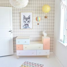 pastel dresser . pastel pretty kids room .