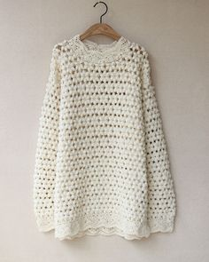 Vintage Handmade Knitted Crochet Embroidered Long Sleeve Sweater