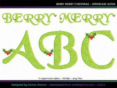 BERRY MERRY CHRISTMAS Uppercase Alpha by Donna Weaver Christmas is in the air with this elegant alphabet!  Included is one full character set as specified in the title, in individual png files.   Click my name to see more of my products, including corresponding alphas that match this one. Thanks for looking :)