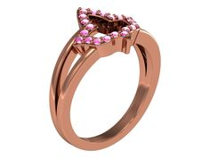 Alpha Kappa Alpha Ring with Pink Leaf
