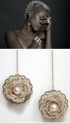 Crochet and silver jewelry by Inbar Jewelry