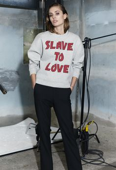"""""""Slave to love"""" sweatshirt from Ganni 2015 Fall/Winter collection."""