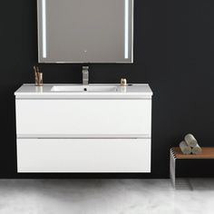 Inglet 101 cm, Meuble Salle de Bain brillant laqué, 3 Finitions, vasque céramique      #salledebain #meuble  #design #style #deco #bathroom #bath #bathroomdesign #bathroomideas #blanc