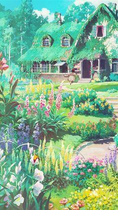 "a piercing whistle of pure joie de vivre - aprettyfire: "" ""Ghibli + Flowers "" "" - Studio Ghibli Art, Studio Ghibli Movies, Studio Ghibli Background, Art Background, Animes Wallpapers, Cute Wallpapers, Aesthetic Art, Aesthetic Anime, Fantasy Landscape"