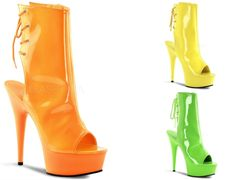 Delight 1018UV Neon Green Orange Yellow Open Heel Toe Ankle Boot Platform Shoe
