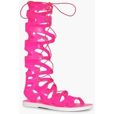 Boohoo Rosie Ghillie Jelly Gladiator Knee High Sandal (£15) ❤ liked on Polyvore featuring shoes, sandals, flatform sandals, special occasion sandals, special occasion shoes, jelly sandals and floral print sandals