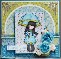 Miss Amber - Gorjuss Stamp ;Puddles of Love' card