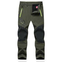 Outdoor Waterproof Breathable Soft Shell Pants Men's Warm Fleece Mountain Climbing Trouser at Banggood