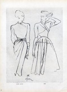 lucien lelong   Lucien Lelong  Grès 1946 Dresses René Gruau