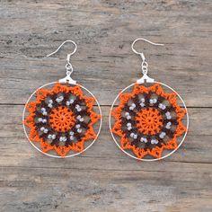 Delicate Crochet Star Hoop Earrings in Orange and Brown