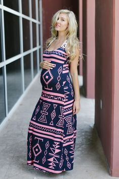Navy Blue Pink Tribal Printed-Crochet Back Maternity Maxi Dress