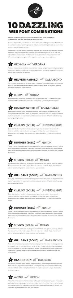 10 great web font combinations #infographics