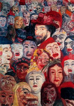 James Ensor, self portrait with masks,1888 Pašportrets ar maskām