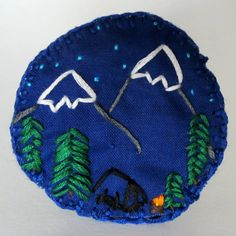 Camping Mountain Range scene patch or merit badge by MoonriseWhims, $10.00
