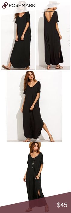 Casual Loose Pocket Split Maxi Dress Estimated arrival 07/18. One of each size. Pre order now. Loose Fit. Price Firm unless bundled. 10% off bundles of 3+ Dresses Maxi