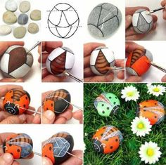 It is fun to decorate your garden with some lively ladybug rocks. Painting these cute ladybug rocks would be an entertaining crafts project to do with kids. Diy Garden Projects, Garden Crafts, Diy Garden Decor, Garden Art, Garden Decorations, Shelf Decorations, Garden Ideas, Garden Design, Rock Painting Ideas Easy