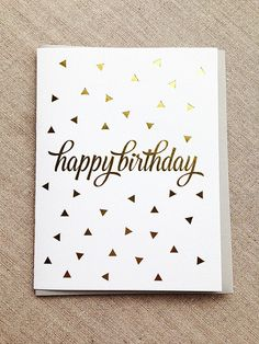 Gold Foil Printed Triangles Birthday Card by kissandpunch on Etsy, $4.95