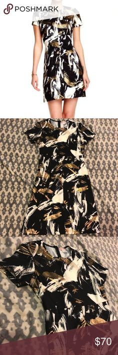 EUC⭐️ Love Ady Brushstroke Fit & Flare Dress Only worn once, this classy fit and flare dress is perfect for a formal occasion! Short-sleeved, black dress with white and shimmery gold brushstrokes across it. Fully functional zipper for easy on & off! Literally was worn for 4 hours ❤️ Love...Ady Dresses