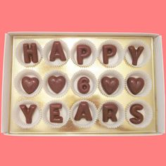 Happy 6 years Large Milk Chocolate Letters-Anniversary Gift for Husband Wife Couple-Made to Order. $24.99, via Etsy.