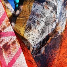 Orange Hand Block Floral Print Tie & Dye Kota Silk Handwoven Dupatta