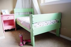 DIY Toddler Bed. Inspiration (no tutorial)---I would make the legs shorter & add rails, love the simplicity of everything else