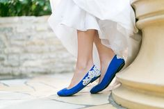 Wedding Flats - Cobalt Blue Bridal Ballet Flats, Wedding Shoes with Ivory Lace. US Size 8.5 on Etsy, $53.00
