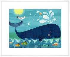 Canvas wall art featuring a happy whale enjoying its day with his friends.A happy whale splashes around as part of the paper prints for kids collection from Oopsy Daisy. Bring home a whale of a pal with kids prints for sale filled with fish and fun. Baby Wall Art, Art Wall Kids, Art For Kids, Ocean Canvas, Canvas Wall Art, Nautical Artwork, Ocean Artwork, Frida Art, Whale Art