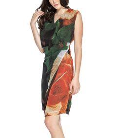 Look at this #zulilyfind! Orange Floral V-Neck Wrap Dress - Petite by Amelia #zulilyfinds