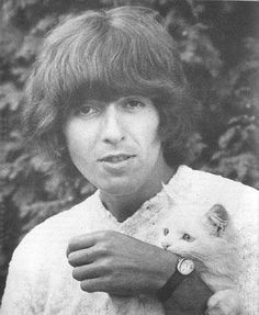 This sweet cat's Human happens to be ex-Beatle George Harrison. My Sweet Lord!