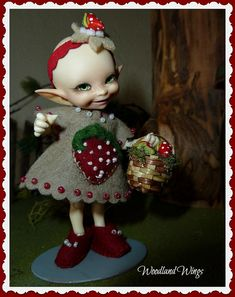 Strawberry wool felted dress with a basket of by WoodlandWings, $37.00
