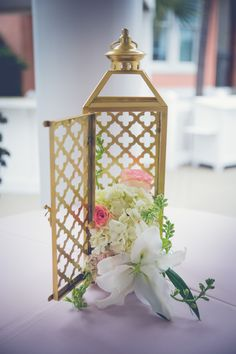Gold Lantern Centerpieces - Charleston Weddings - Pink _ Gold Wild Dunes Resort Wedding by Asteria Photography